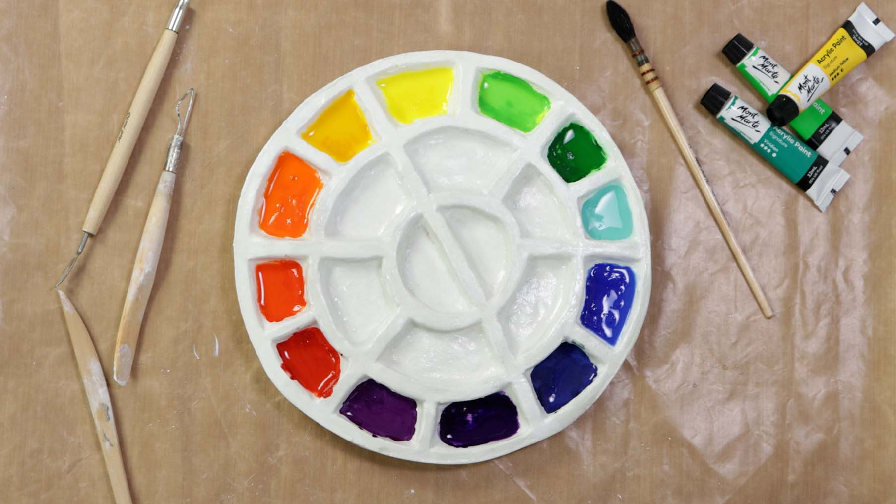 Create a paint palette with air drying clay