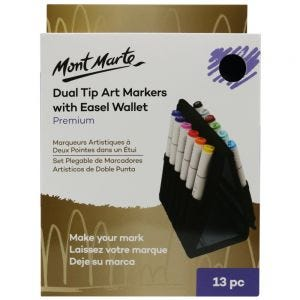 Dual Tip Art Markers with Easel Wallet Premium 13pc