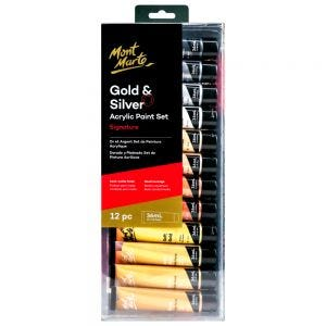 Gold and Silver Acrylic Paint Set Signature 12pc x 36ml (1.2 US fl.oz)