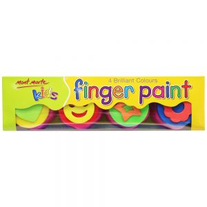 Kids Colour Finger Paints 4pce with stamp