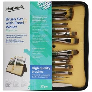 Brush Set with Easel Wallet Signature17pc
