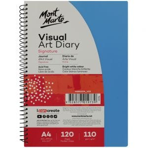 Visual Art Diary PP Coloured Cover Signature 110gsm A4 120 Page