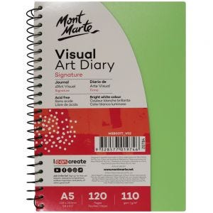 Visual Art Diary PP Coloured Cover Signature 110gsm A5 120 Page