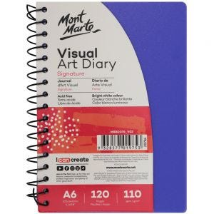 Visual Art Diary PP Coloured Cover Signature 110gsm A6 120 Page